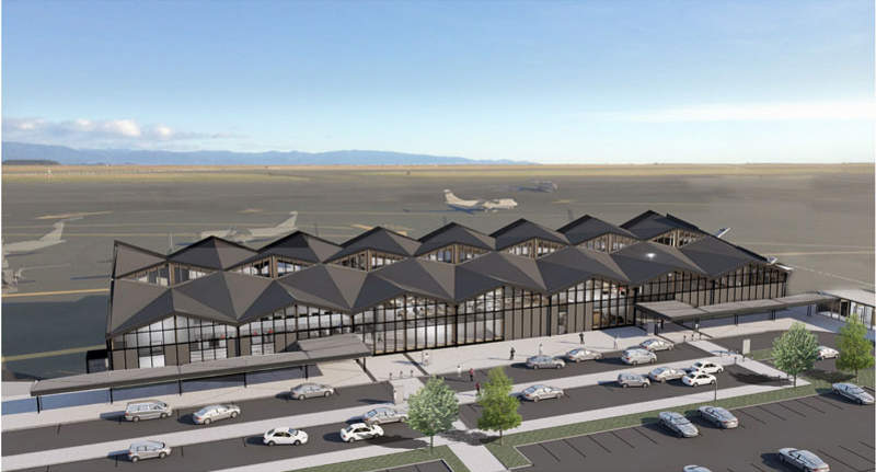 A new terminal development was proposed at the airport in 2016. Image courtesy of Nelson Airport Ltd.