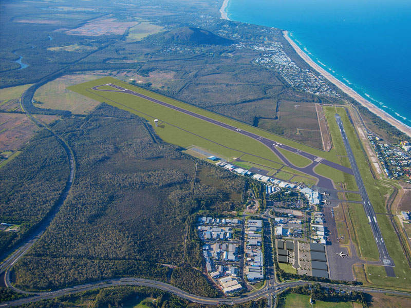 The existing main runway at Sunshine Coast international airport has relatively smaller dimensions. Image courtesy of Sunshine Coast Regional Council.