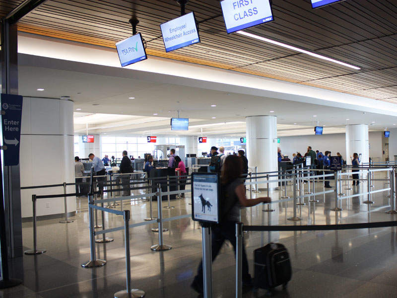 The upgraded terminal features a new consolidated security screening area that reduces passenger waiting times.