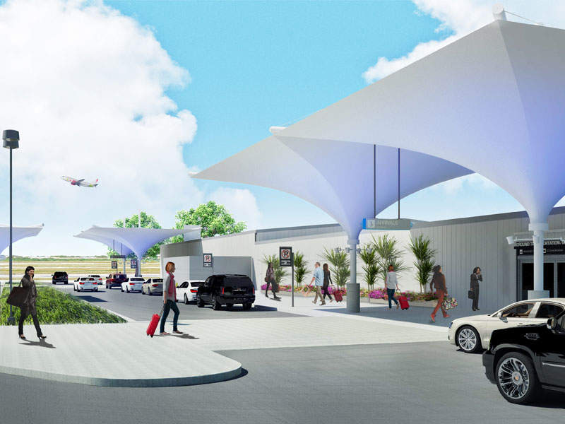The renovated South Terminal features a series of white canopies at its entrance. Image courtesy of City of Austin.