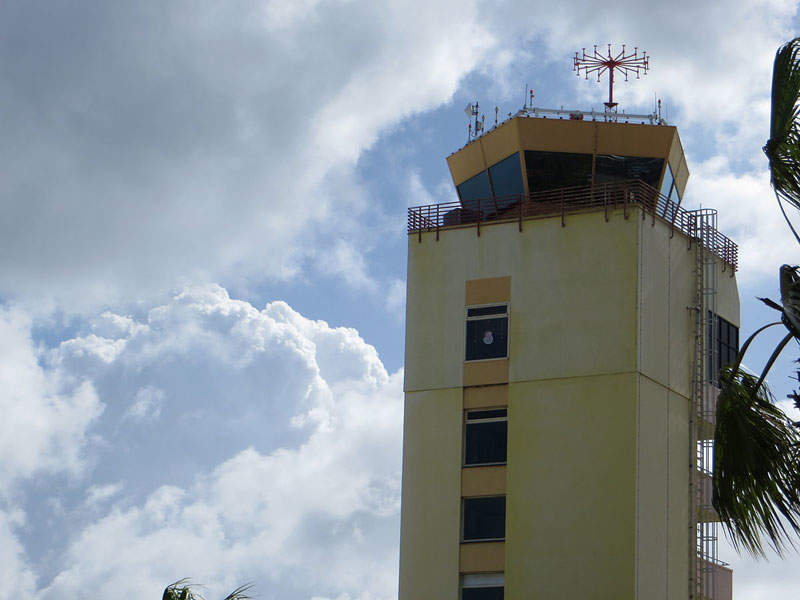The air traffic control tower (ATC) at Aruba airport. Image courtesy of Sunnya343.