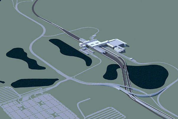 The South Airport APM complex and intermodal transportation facility will link rail and air transportation at the airport. Image courtesy of SchenkelShultz Architecture.