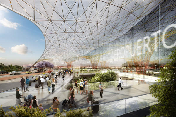 The compact passenger terminal will be enclosed in a lightweight grid-shell. Credit: Foster + Partners.