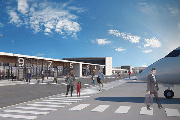 The satellite terminal will feature 16 gates for arrival and departure.