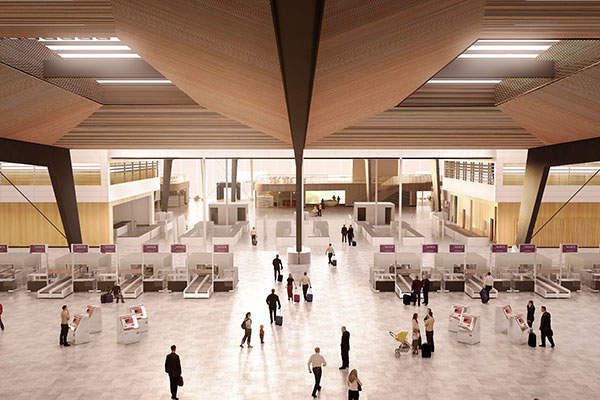 The check-in and security desks at the new terminal. Image courtesy of Nordic - Office of Architecture.