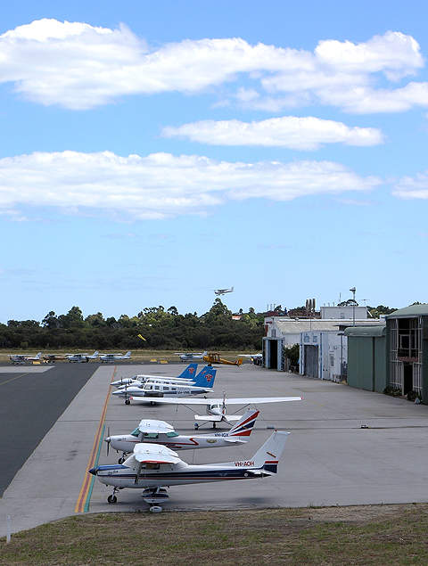 Hangar facilities at the Jandakot airport.