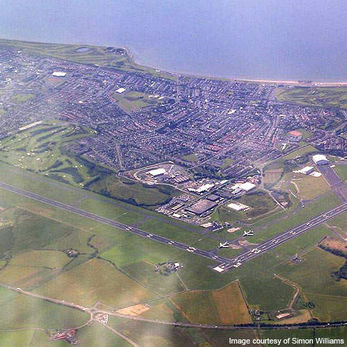 Aerial view of Glasgow Prestwick Airport.