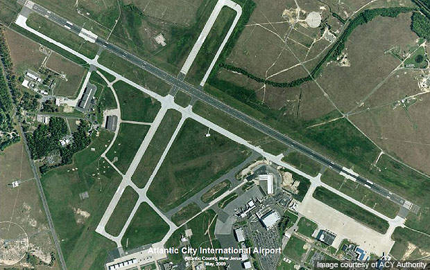 The layout of Atlantic City International Airport in 2009.