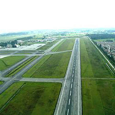 El Dorado International Airport has two asphalt paved runways. Image courtesy of Dmcdevit.