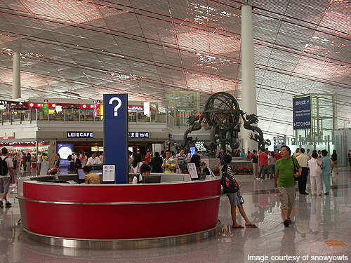 Interiors of Terminal 3 were designed using traditional Chinese symbols and colours.