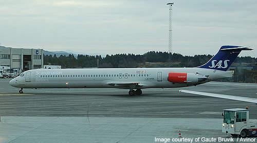 Scandinavian Airlines System McDonnell Douglas MD-82 LN-RMM at Bergen Airport.