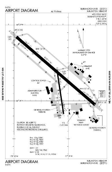 Plan of Burlington International Airport in Vermont.