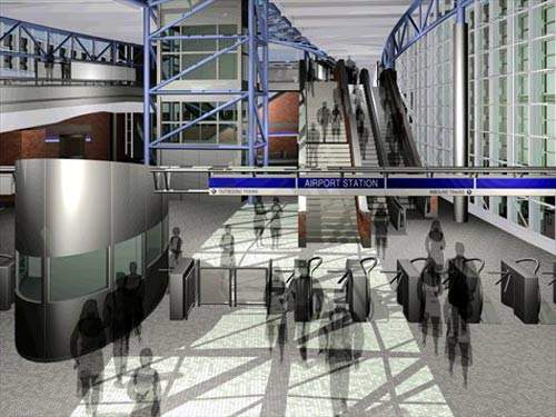 Computer-generated interior of the new airport bus station.