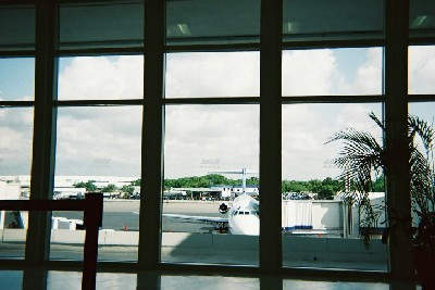 The terminal of Cancun Airport is light and airy, designed to make maximum use of natural light.