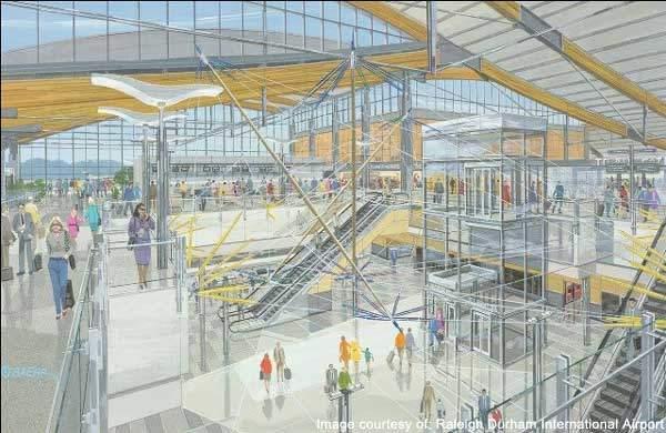 The central atrium of Raleigh-Durham Airport.