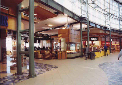 Edmonton Airport's central hall is open, spacious and bright with lots of natural light.