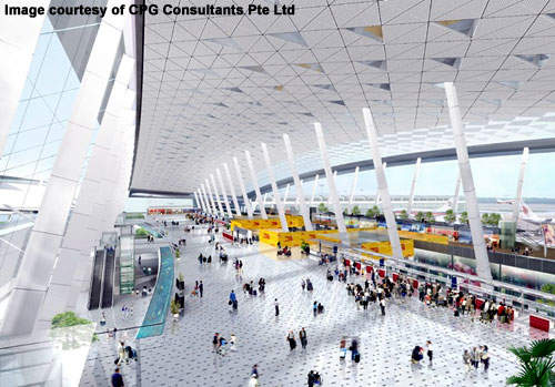 Wuhan Tianhe's check-in hall has 80 counters a central baggage conveyor system and 18 baggage screening counters.