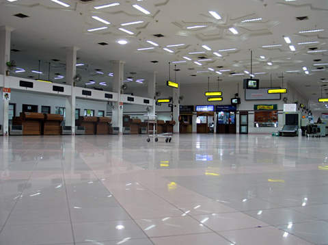 Check-in counters and passenger facilities at the Cochin International Airport.