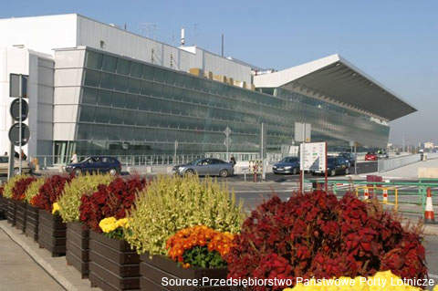 The façade of Frederic Chopin International Airport's terminal 2.