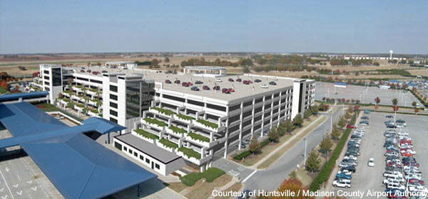 Huntsville's parking was expanded to provide space for 1,300 cars.