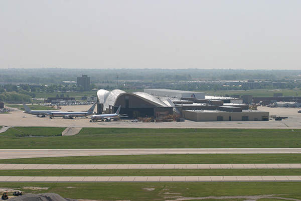 The overhaul base of American Airlines at Kansas City International Airport.