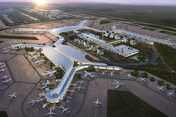 Terminal two will implement South Asia's architectural styles and an X-shaped design. Image courtesy of ©ADPI.