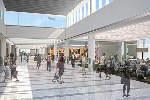 Charleston International Airport's concourses were renovated as part of the TRIP. Image courtesy of Charleston County Aviation Authority.