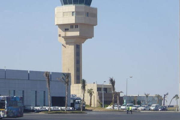 The air traffic control tower of Sharm El Sheik International Airport.