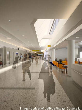 The airy JetBlue terminal concourse promotes passenger flow.