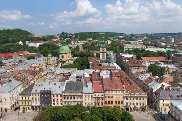 Lviv's airport is six kilometres west of the historical city.