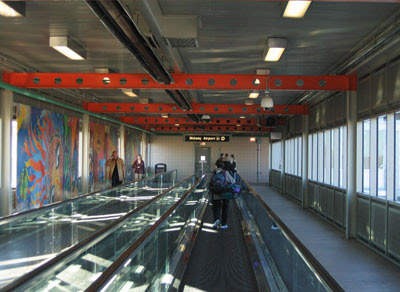 The moving walkways inside the new terminal at Chicago Midway.