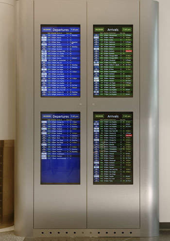 New Flight Information Displays (FID) in terminal two.