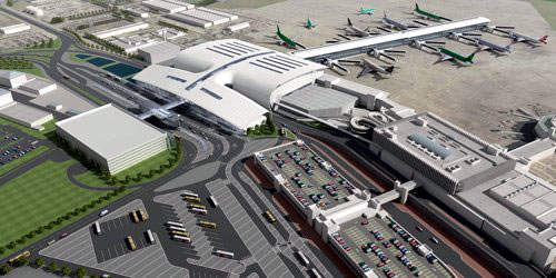 Dublin Airport's new pier D development. The two-storey, 15,000m³ pier will have 12 gates serving 14 new aircraft contact stands and will be 257m long and 29m wide.