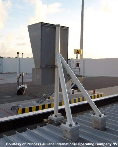 The docking mount equipment at the gate for aircraft.