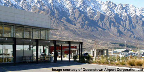Queenstown Airport serves a popular skiing resort.