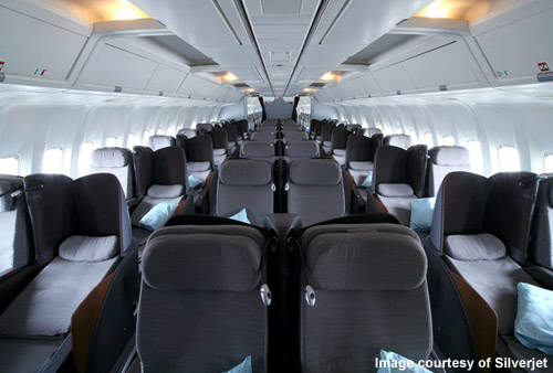 The Silverjet aircraft have 100 fully reclining 6ft 3 inch flat bed seats.