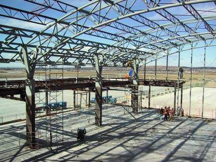 The steel structure of Calgary Internaitonal Airport's new terminal.