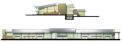 Rogue Valley International-Medford Airport terminal plans side and front elevation.