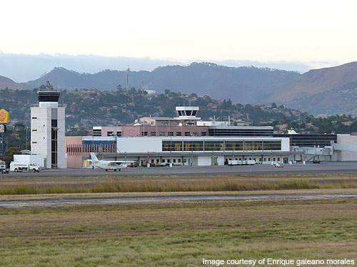 The old terminal building and the control tower at the Toncontin International Airport, Honduras.