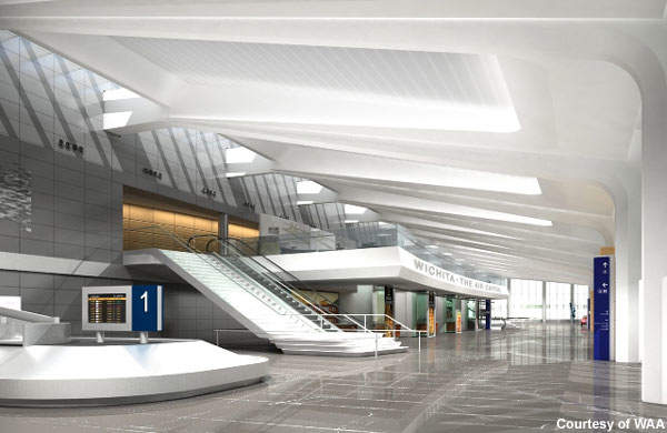 The new terminal building has given Wichita Dwight D. Eisenhower National Airport a modern outlook.
