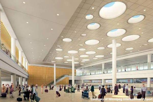 The baggage-claim area at Winnipeg will incorporate common-use equipment.