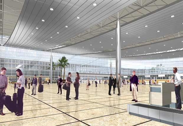 Terminal 3's departure and arrival halls will be located 10m below the apron and taxiways.
