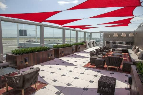 The new Sky Deck outdoor terrace at Delta Sky Club at Terminal 4 of JFK International Airport is first of its kind in the world.