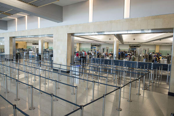 The expansion of the terminal 2 at San Diego International Airport has added 12 additional security lanes.