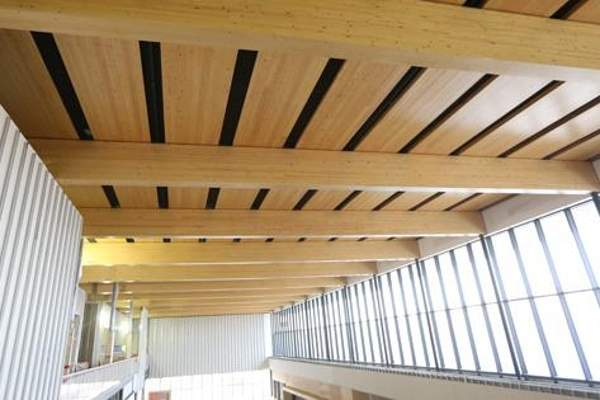 The roof structures of the terminal building feature cross-laminated timber panels.