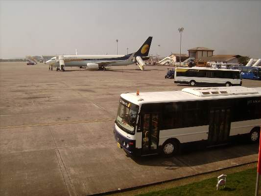 Dabolim Airport handles many charter flights for travellers in Goa, a major tourist destination in India. Image courtesy of Ssr.