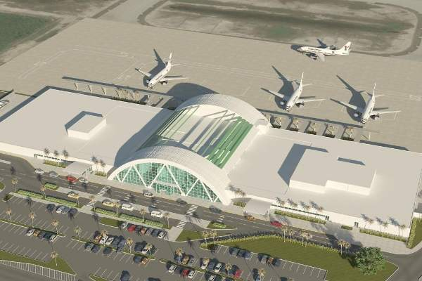 Birdseye view of the airport's redevelopment concept design.