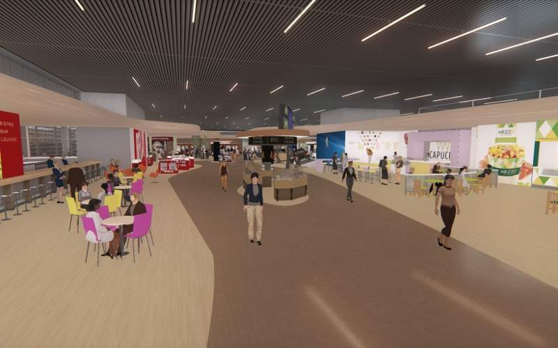 The boarding area in Hall D of the terminal will feature a new commercial area. Image courtesy of Aéroport Toulouse-Blagnac.