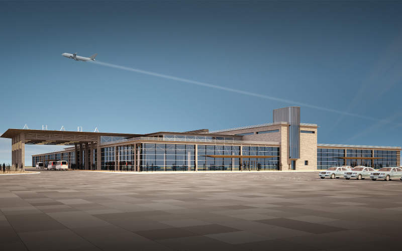 Anapa airport's new terminal will be constructed to the north-east of the existing terminal building. Image courtesy of Basic Element.