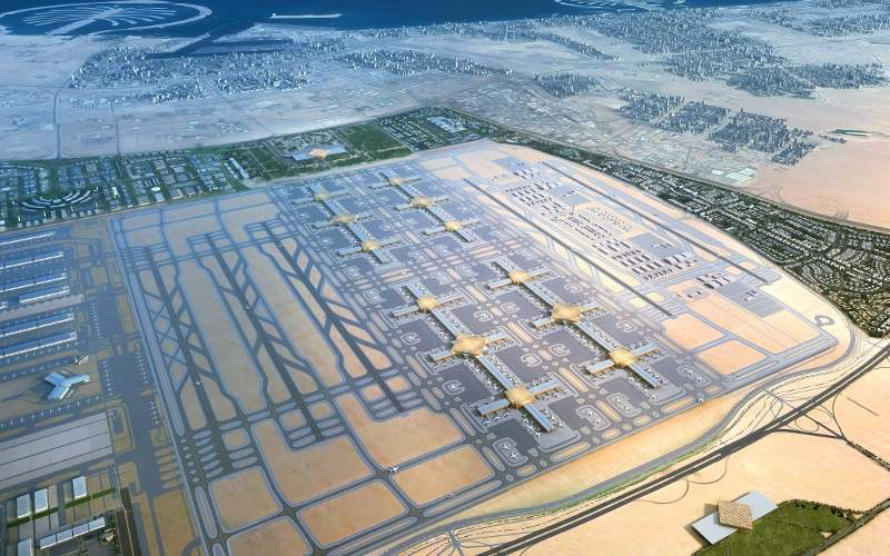 Al Maktoum is expected to become the world's biggest airport in terms of passenger capacity by 2050. Credit: Dubai Airports.